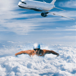 freetoedit swimming clouds airplane surreal