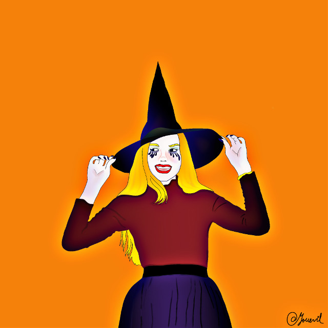 #witch#halloween#cutewitch#myillustration#orange#blonde#smile#purple#burgundy#redlips#glow #freetoedit