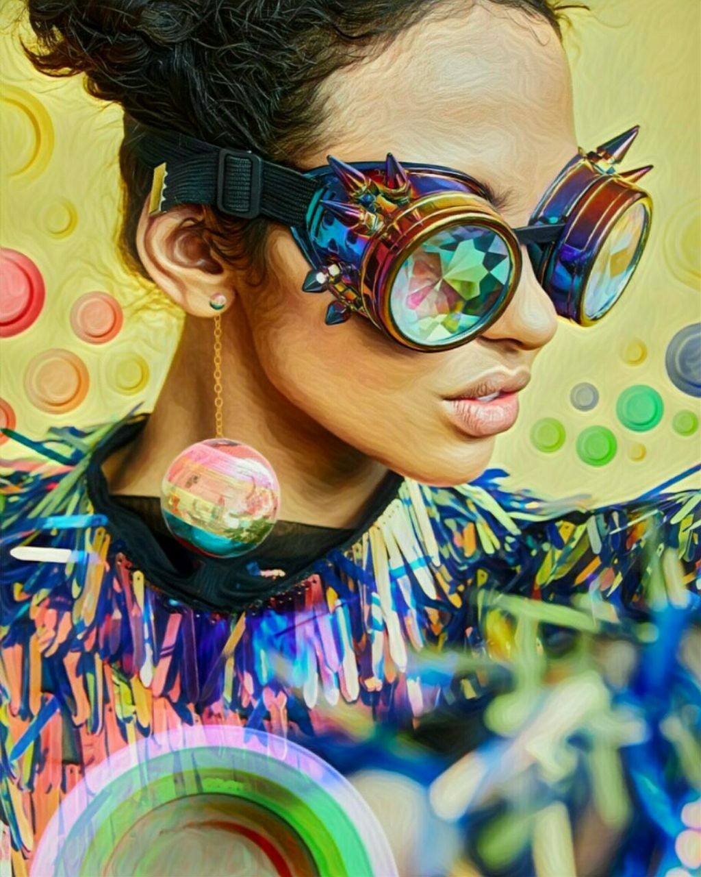 A Rainbow Day #freetoedit #simplyyellow #woman #glasses #colourful #discoball