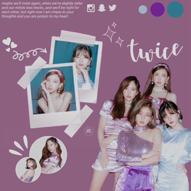 twice edit  i wanted to try a new style so i tried making an edit i saw on pinterest. i can't find the link to the post :(  qotd: who's your bias in twice?  my answer: dahyun!