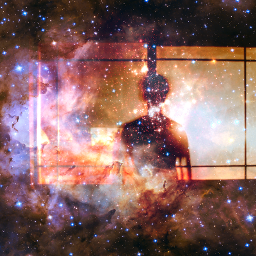outerspace person window silhouette surreal freetoedit