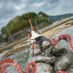 freetoedit man tentacles splash water