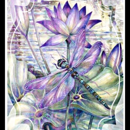 aesthetic freetoedit dragonfly flowers purple
