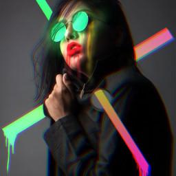 neon surreal modern women portrait freetoedit