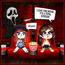 freetoedit gachalifehalloweenoc gacha scream movietheater