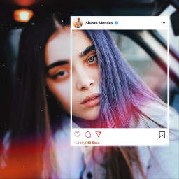 freetoedit girl istagram frame coloredhair