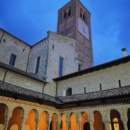 abbey follina church belltower evening