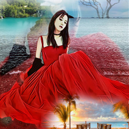 freetoedit female reddress trees seashore myeditoffreetoedit