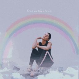 freetoedit girl cloud rainbow sky