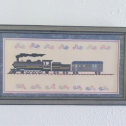 crossstitch art handmade wallart train