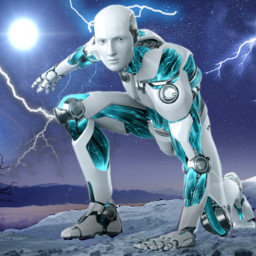 freetoedit vipaziz sky robot neon effect blue strom luz boom farm tree gaz rain mountain nature star white warrobots