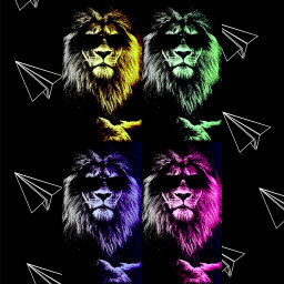 lion four glasses black dark freetoedit