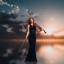 beauty music violin sunset peacefull freetoedit