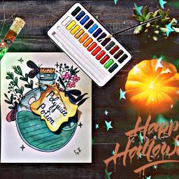 freetoedit happyhalloween pumpkin potion watercolorillustration ircpumpkin