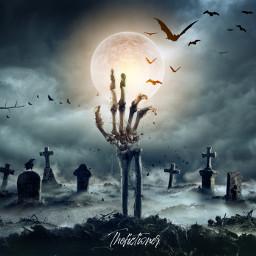 pi31daysofhalloween charlotteshalloween skeleton cemetery midnight freetoedit