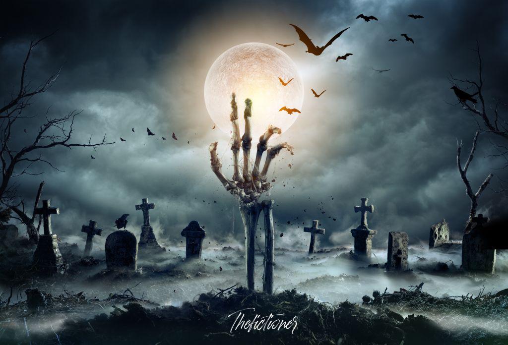 - DAY 29 / R E S U R R E C T -   º Edit by me  º Cementery - Photo by Romolo Tavani on Adobe Stock   #pi31daysofhalloween #charlotteshalloween #skeleton #cemetery #midnight #bats #spooky #fog #freetoedit