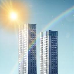 sunshine sun city rainbow skyscraper freetoedit