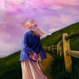 freetoedit nature landscape hillside woman