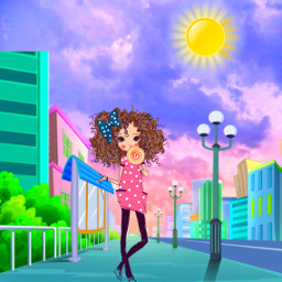 freetoedit cartoon city citylife girl cute colorful stickerart blending adjusttools editstepbystep myedit madewithpicsart