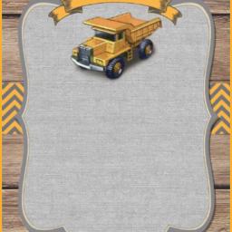 card invitation truck burlap bulldozer freetoedit