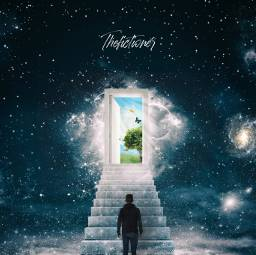galaxy space stars stairs door surreal man becreative interesting fantasy magic freetoedit