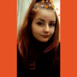 girl selca selfie halloween orange