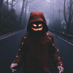 freetoedit happyhalloween hallowen pumpkin lights people silhouette halloweenspirit night forestwalk darkness dark walking spooky madewithpicsart myedit halloweenspirit
