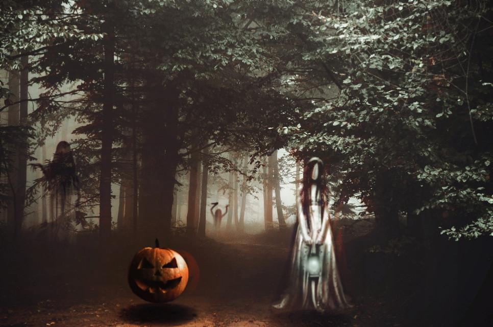 Happy late Halloween 🎃 #freetoedit #halloween #happyhalloween #spooky #ghosts #pumpkin #scary #forest #art #be_creative #girl #dead #plzlike