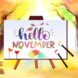 freetoedit watercolors background painting easel hellonovember november autumn landscape trees fallcolors artistic becreative myedit madewithpicsart