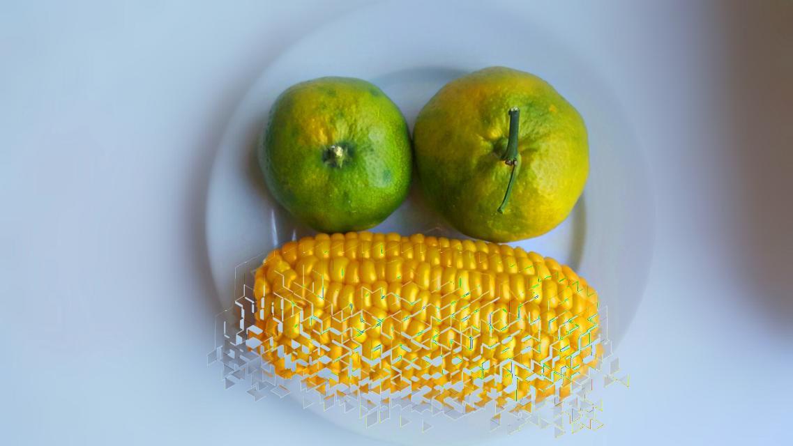 #freetoedit  #sadface #vegetables #fruit #orange #corn #yellow #green #dispersioneffect  #pa @picsart