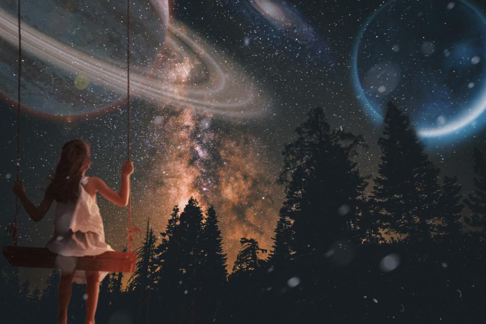#freetoedit #galaxy #galaxyedit #girl #swing #swinging #planets #universe #forest #stars #night #beauty #lovely #be_creative #behappy #plzlike #like
