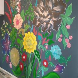 bunchofflowers paintedwall freetoedit