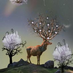 fantasyart madewithpicsart surreal branches deer freetoedit