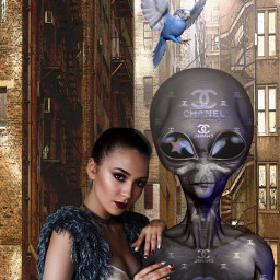 freetoedit alien channel girl madewithpicsart srcgalaxycrown