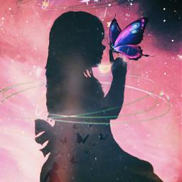 freetoedit picsartedits fantasyart galaxy butterflies srcgalaxycrown
