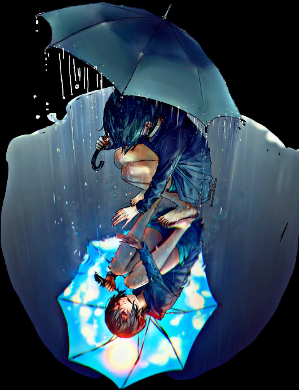 #challenge #umbrella #anime #animegirl #rain #raining #puddle #reflection #picsarteffects #picsartedit #picartstickers #picart @amarinarios70 #freetoedit
