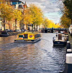 amsterdam boats canals fall colors freetoedit