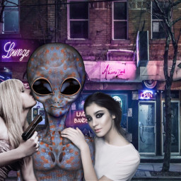 freetoedit alien girls gun alienized