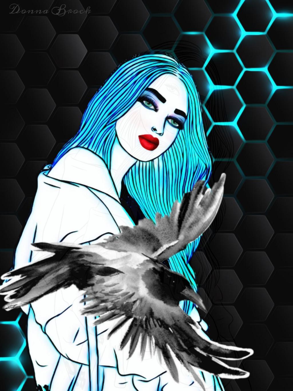 STRIKE A POSE ...     #pose #woman #girl #drawing #bird #blackbird  #crow #freetoedit  #ircpose