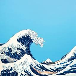 freetoedit wave greatwaveofkanagawa kanagawa KatsushikaHokusai painting japanese