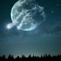 freetoedit doubleexposure moon sky polygonart starrysky