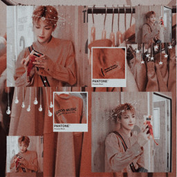 hongjoong ateez orange aesthetic soft cute kpop kpopedit kpopcollage collage kpopaesthetic selca