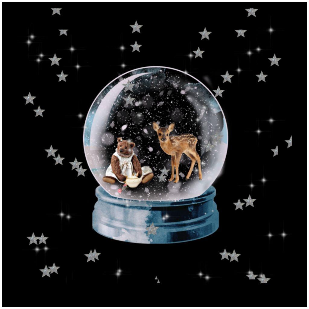 #snowglobe #deer #stars #snow globe