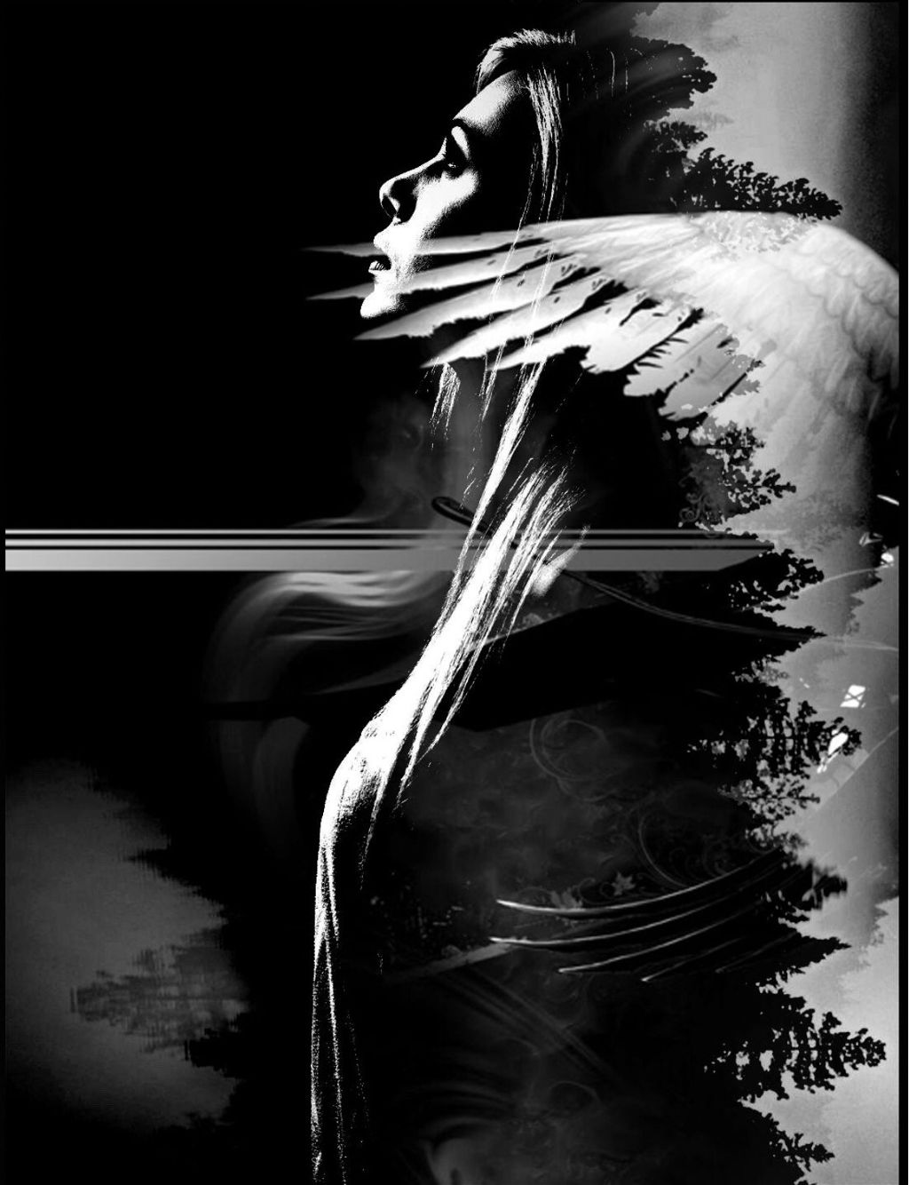 #freetoedit she talks to angels #myedit #doubleexposure #darkart_saturday