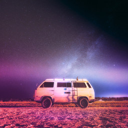 car colorful sky night galaxy ircvintagevan freetoedit