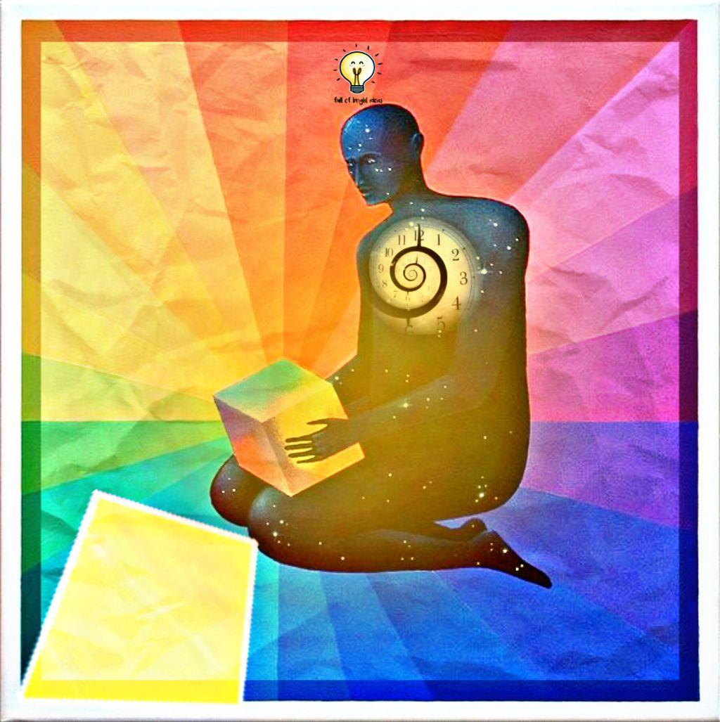 #freetoedit #clock #paper #rainbow #box #brightidea #lightbulb #hazy #yellow #man #silhouette #kneeling