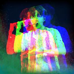 bts jhope kpop glitch rainbow kpopedit hoseok art btsarmy freetoedit