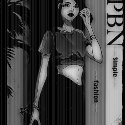 girl character avatar blackandwhite black