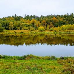 autumn landscape river colorful refections freetoedit