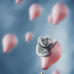 cute kawai balloons koala freetoedit